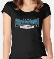 Pokemon Champion_Blue_DarkBG Women's Fitted Scoop T-Shirt