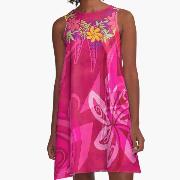 Hawaiian - Samoan - Polynesian Lei Please Pink Tribal A-Line Dress