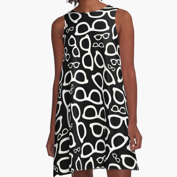 Smart Glasses Pattern (white on black) A-Line Dress
