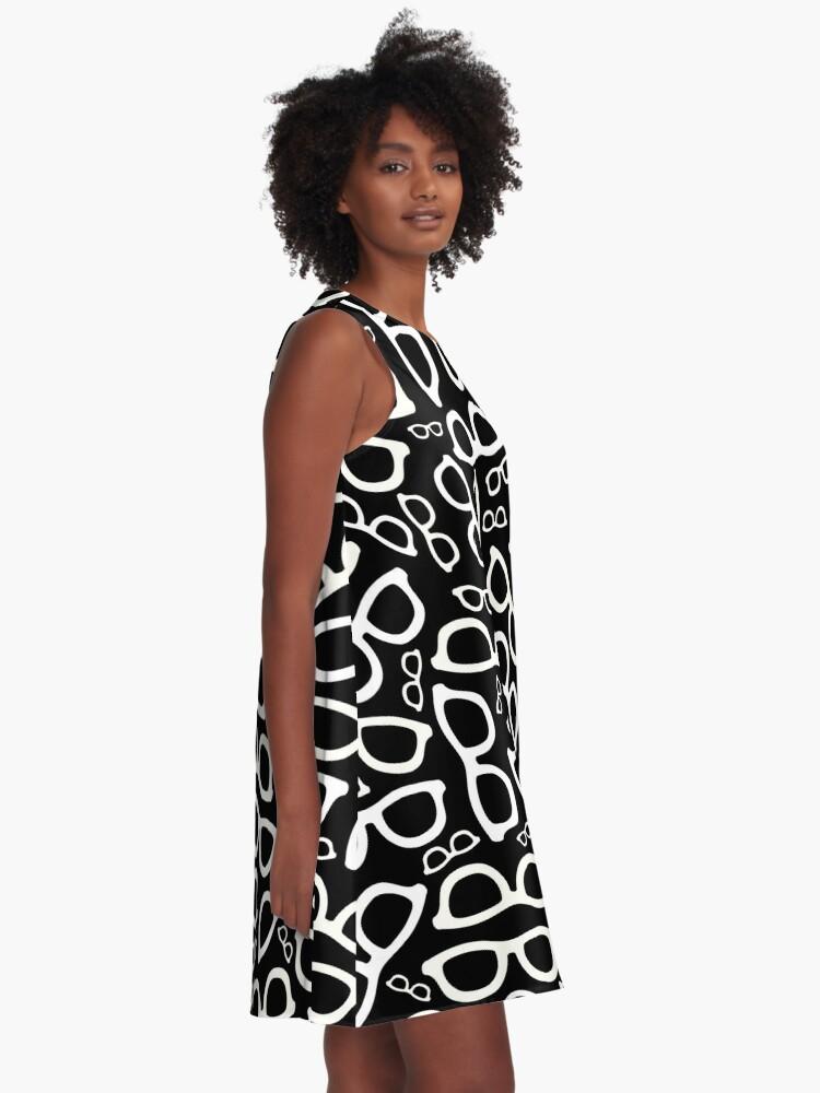Alternate view of Smart Glasses Pattern (white on black) A-Line Dress