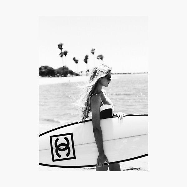 Surf girl with fashion surfboard, Beach Wall Art Photographic Print