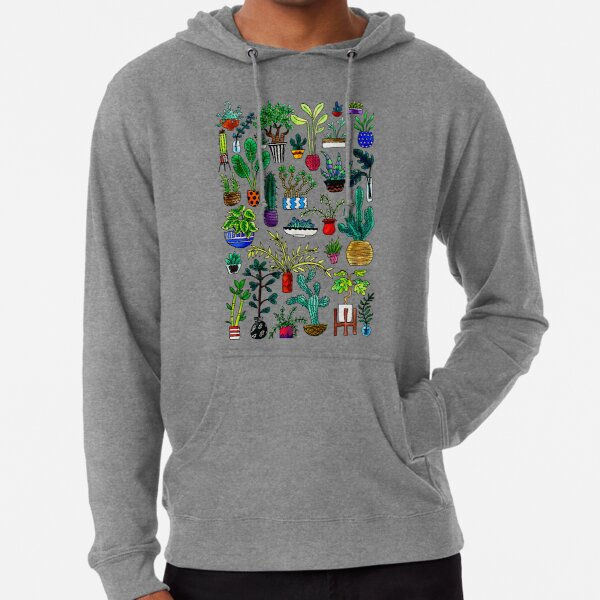 I Want All the Plants Watercolor Painting Lightweight Hoodie