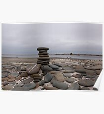 Pebble Stack - Sea Lion Island, West Falkland Poster