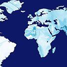 World Map Blue Marble by Samm Poirier