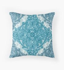 Teal & White Lace Pencil Doodle Throw Pillow