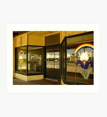 Rainbow shop front and reflections Art Print