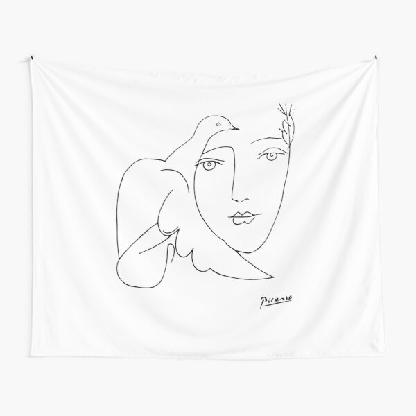 Pablo Picasso Peace (Dove and Face) T Shirt, Sketch Artwork Tapestry