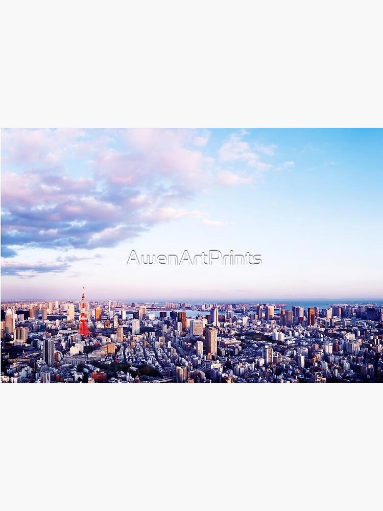 Tokyo tower in beautiful aerial scenery Tokyo city under vast blue sky art photo print by AwenArtPrints