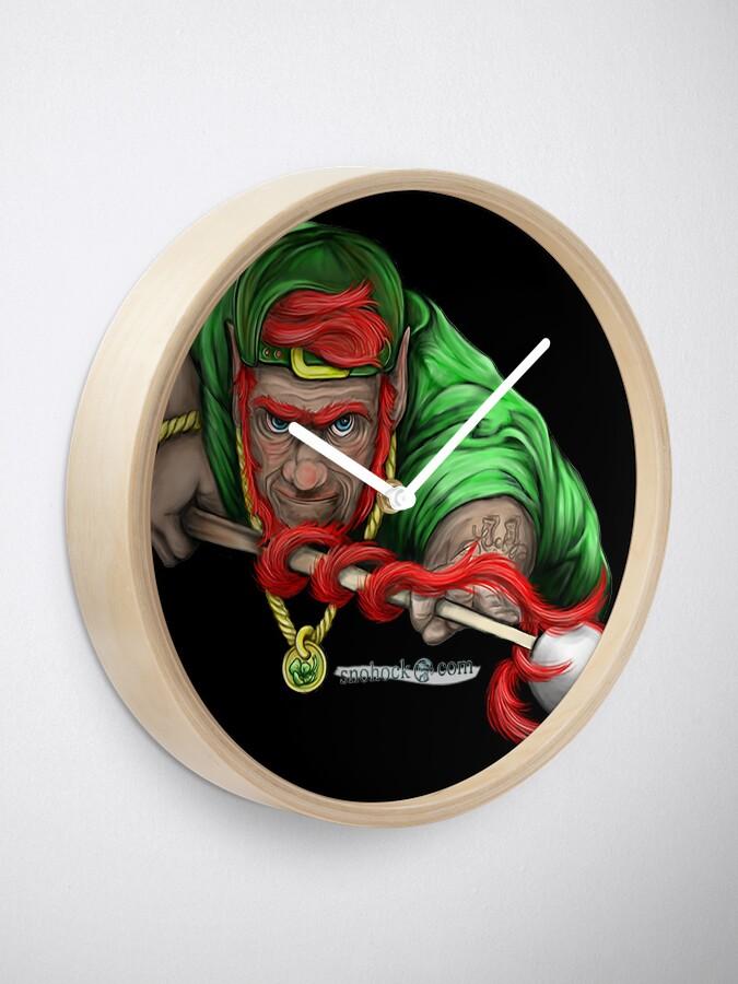 Alternate view of Lucky Leprechaun Shooting Pool Clock