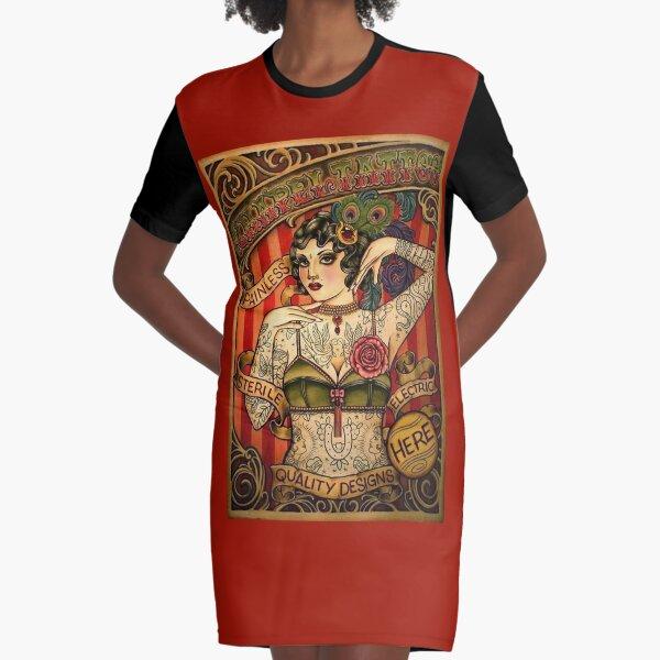 CHAPEL TATTOO; Vintage Body Advertising Art Graphic T-Shirt Dress