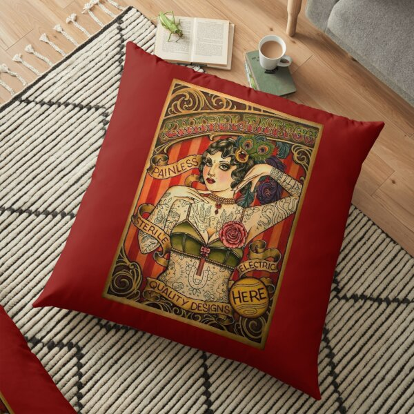 CHAPEL TATTOO; Vintage Body Advertising Art Floor Pillow