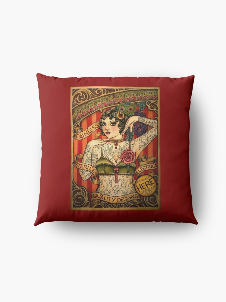 Alternate view of CHAPEL TATTOO; Vintage Body Advertising Art Floor Pillow