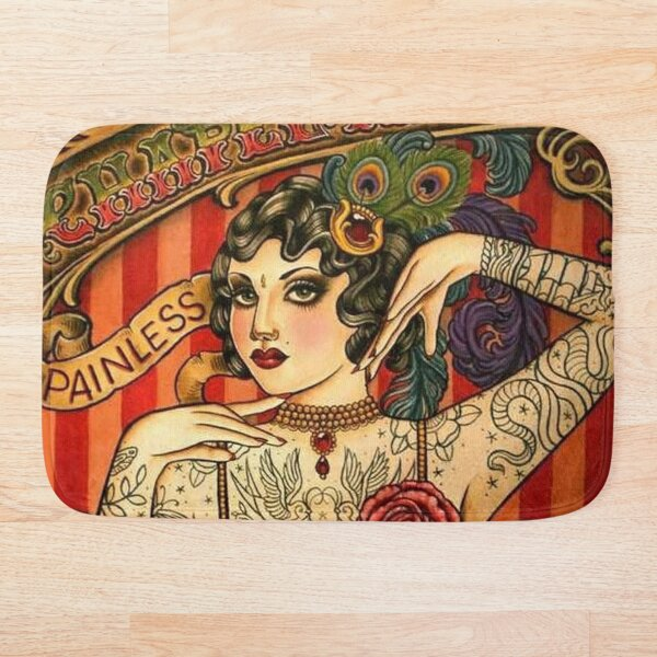 CHAPEL TATTOO; Vintage Body Advertising Art Bath Mat