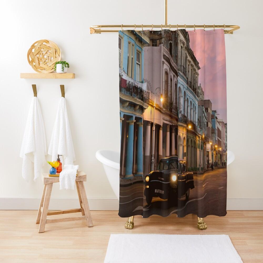 Cuba Havana Cuban Tropical Sunset Classic Car Shower Curtain