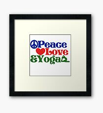 Peace love and yoga Framed Print