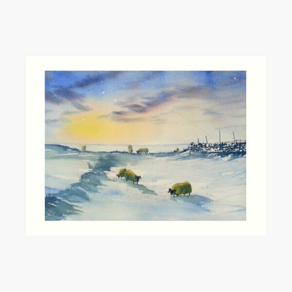 Sheep and Snow on the Moors Art Print