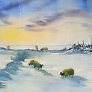 Sheep and Snow on the Moors by Glenn  Marshall