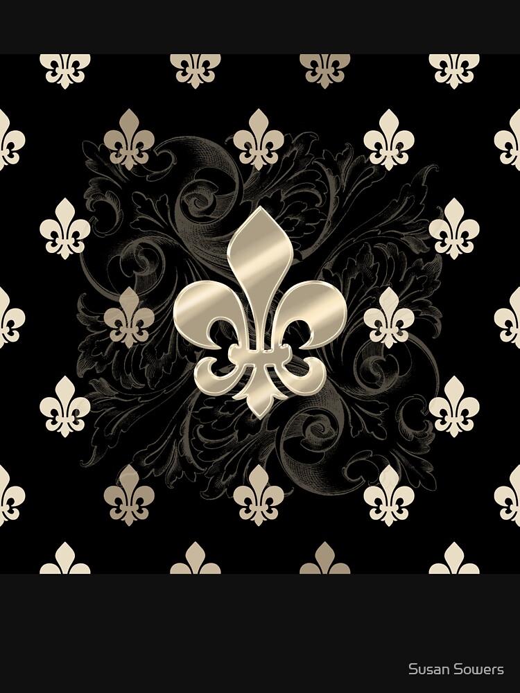 Fleur de Lys-Black & Gold by SSSowers