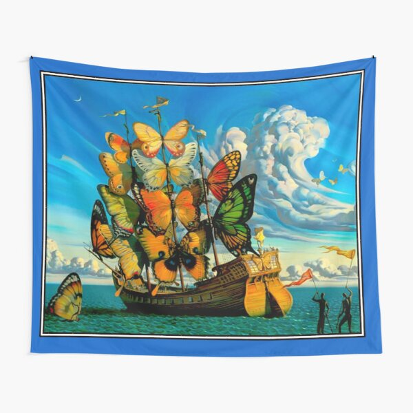 BUTTERFLY SHIP : Vintage Surreal Abstract Fantasy Print  Tapestry