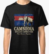 Cambodia Flag - Vintage Look Classic T-Shirt