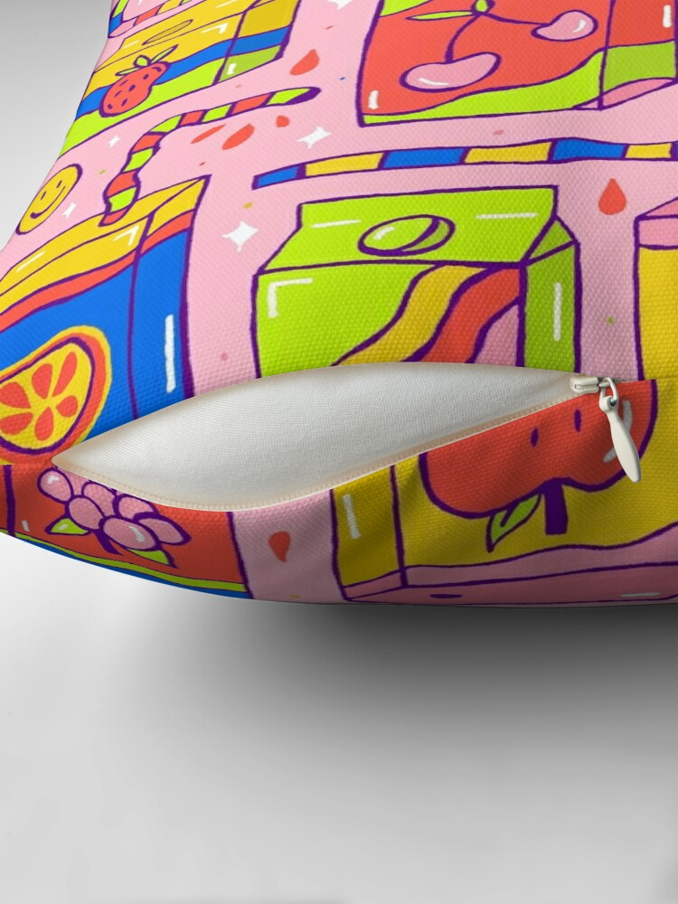 Alternate view of Juice Box Print Throw Pillow