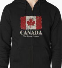 Maple Leaf - Canadian Flag - Vintage Look Zipped Hoodie