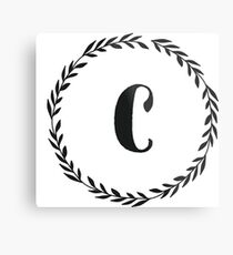 Lienzo metálico Monogram Wreath - C