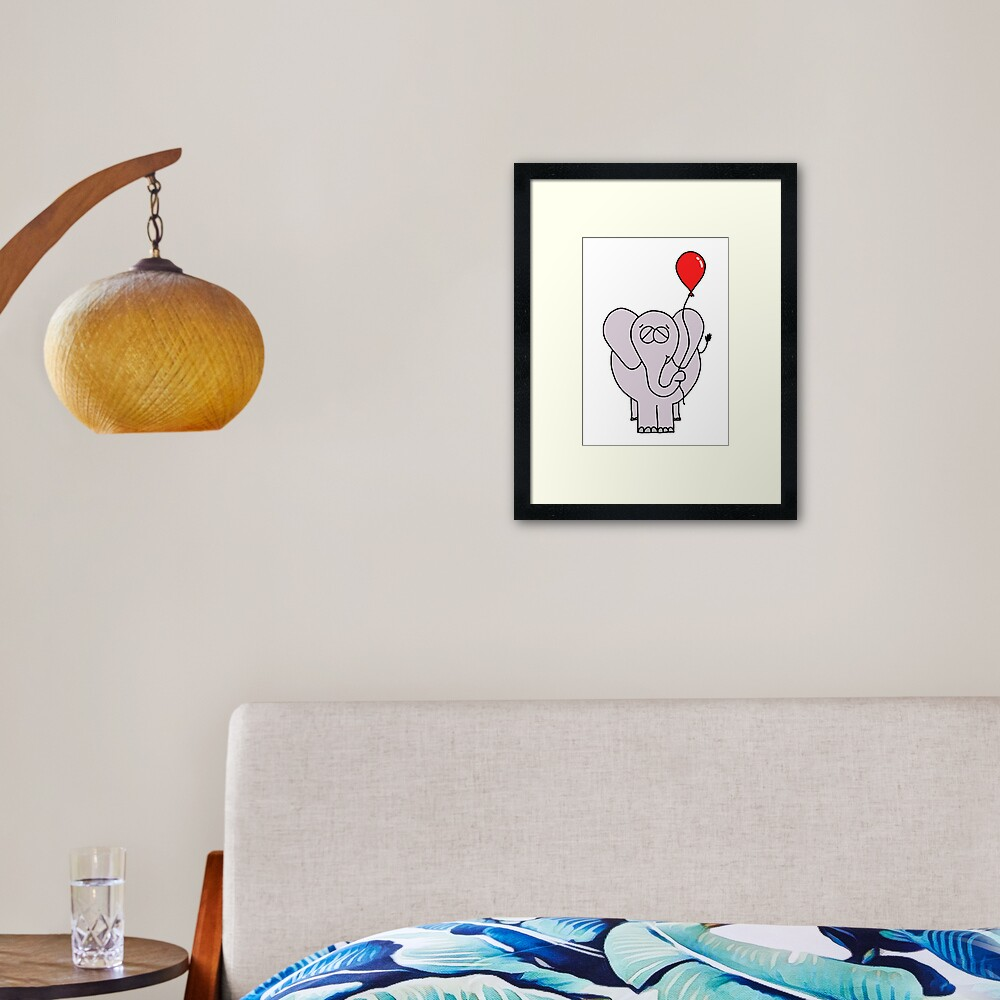The Elephant And His Balloon Framed Art Print