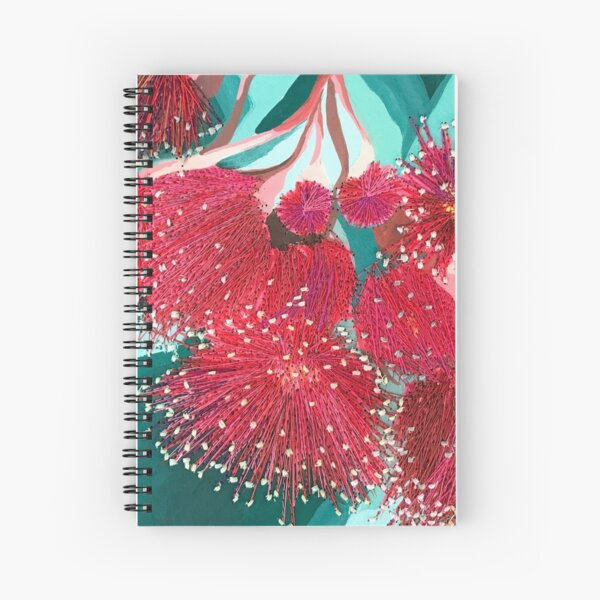 Embroidery Burgundy Red Gum Flowers by Leah Gay Spiral Notebook