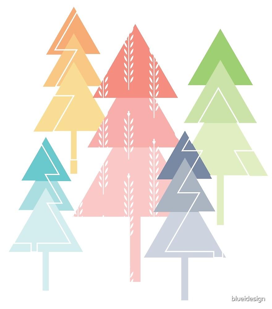 Forest Pine Trees Geometric Pastel Scandinavian by blueidesign
