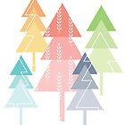 Forest Pine Trees Geometric Pastel Scandinavian by blueidesign