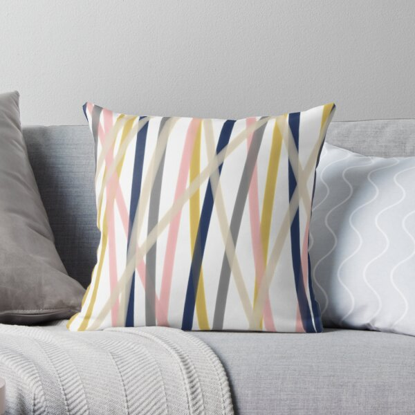 Ribbon Abstract in Mustard Yellow, Blush Pink, Navy Blue, Grey, Almond, and White. Minimalist Modern Throw Pillow