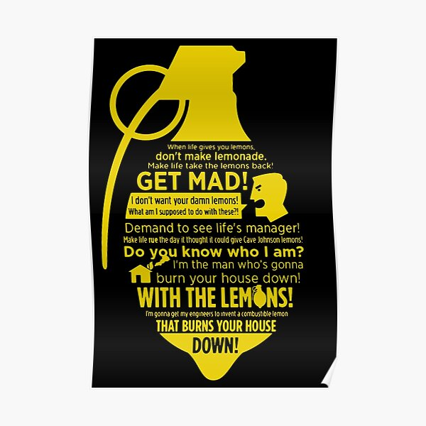 Combustible lemon Cave Johnson Poster