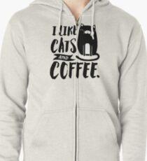 I Like Cats and Coffee Zipped Hoodie