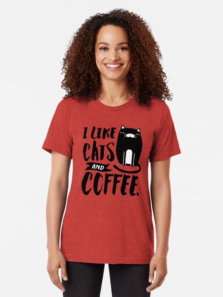 Vista alternativa de Camiseta de tejido mixto Me gustan los gatos y el café.