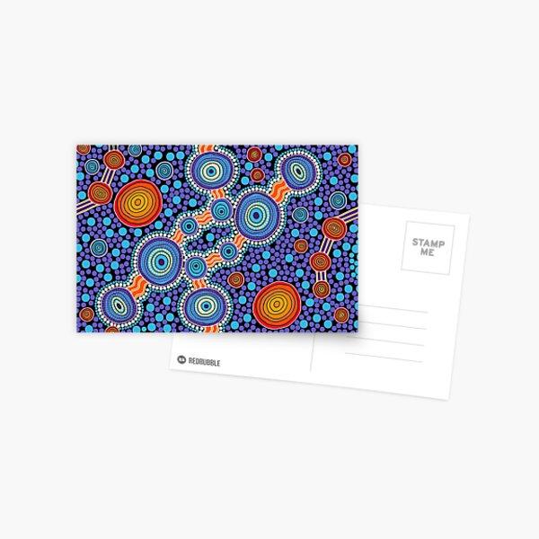 Authentic Aboriginal Art - The Journey Blue Postcard