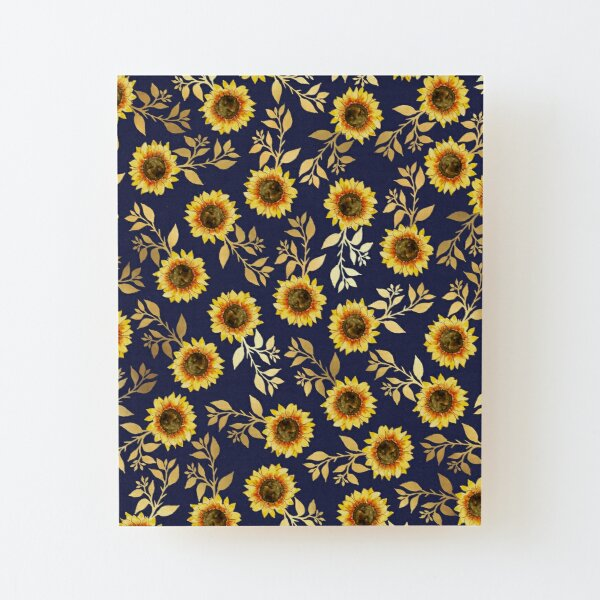 Sunny Yellow Gold Navy Sunflowers Leaves Pattern Wood Mounted Print