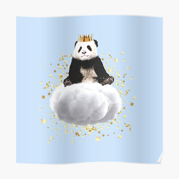 Panda cloud with the stars Poster