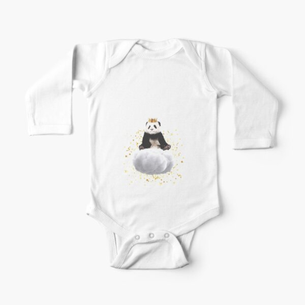 Panda cloud with the stars Long Sleeve Baby One-Piece