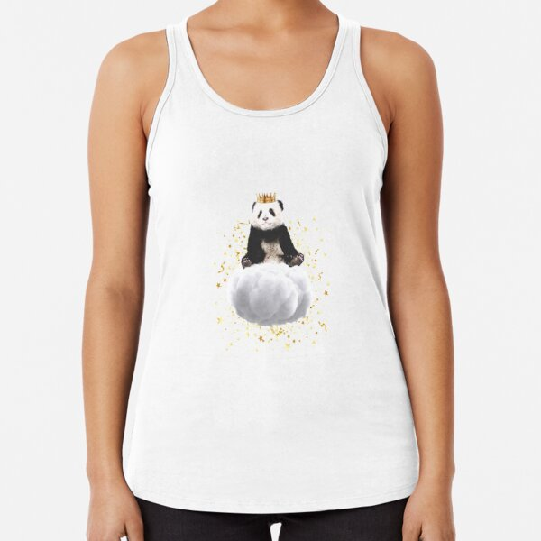 Panda cloud with the stars Racerback Tank Top