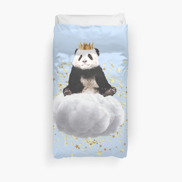 Panda cloud with the stars Duvet Cover