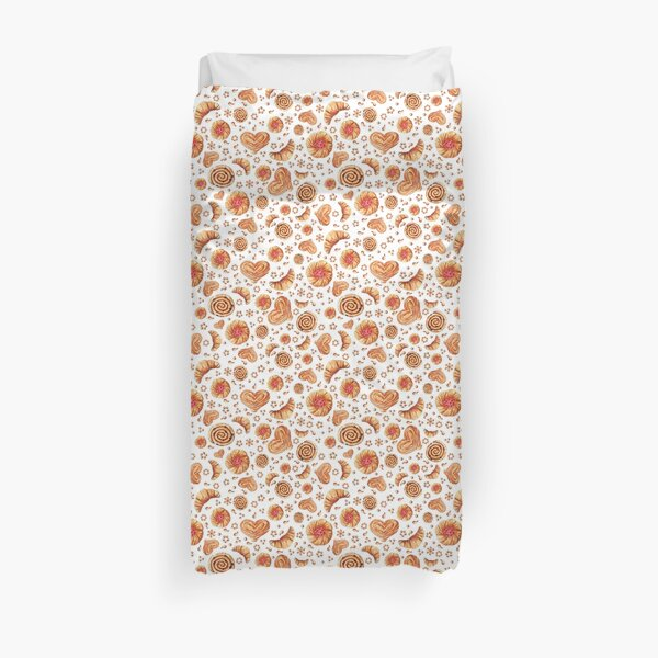 Seamless pattern with watercolor bakery products  Duvet Cover