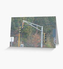 Triple Traffic Lights at Mansfield with pedestrian crosswalk light Part 2 Greeting Card