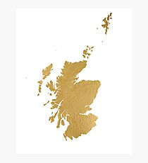Gold Scotland map Photographic Print