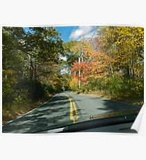 Drive Down Ministerial Road - Fall in Rhode Island Poster