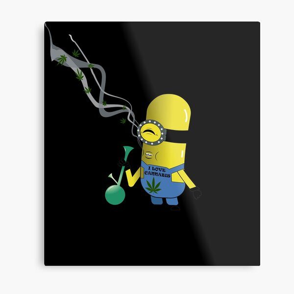 Smoking Minion Metal Print