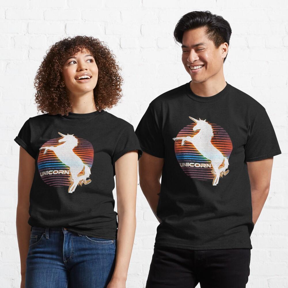 Unicorn Black Grey White Retro Galaxy Unicorn Graphic Logo  Classic T-Shirt