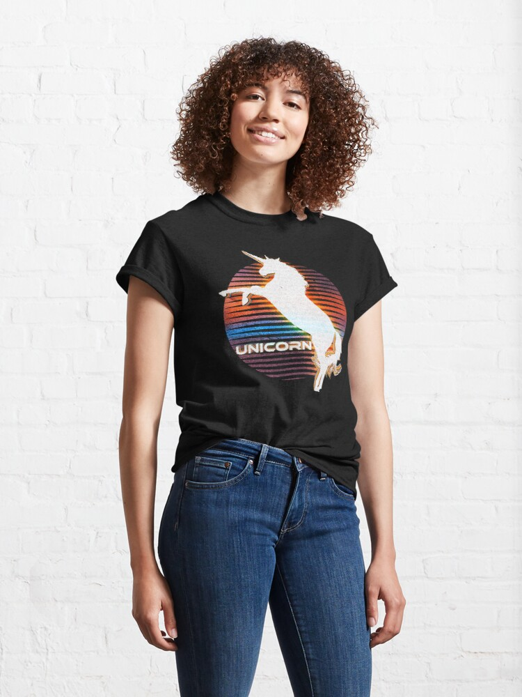 Alternate view of Unicorn Black Grey White Retro Galaxy Unicorn Graphic Logo  Classic T-Shirt