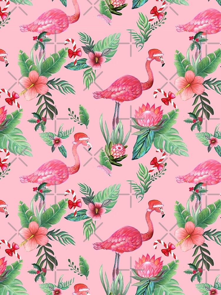 Pink Flamingo in Santa Hat  with candy canes, holly and exotic flowers in watercolor by MagentaRose