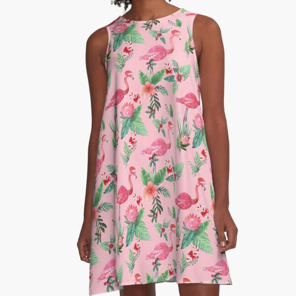 Pink Flamingo in Santa Hat  with candy canes, holly and exotic flowers in watercolor A-Line Dress